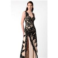 Black Embellished Slit Gown by Beside Couture by GEMY - Color Your Classy Wardrobe
