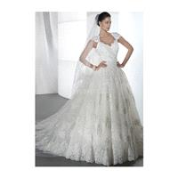 Vintage A line Lace Floor Length Queen Anne Wedding Dress With Appliques - Compelling Wedding Dresse