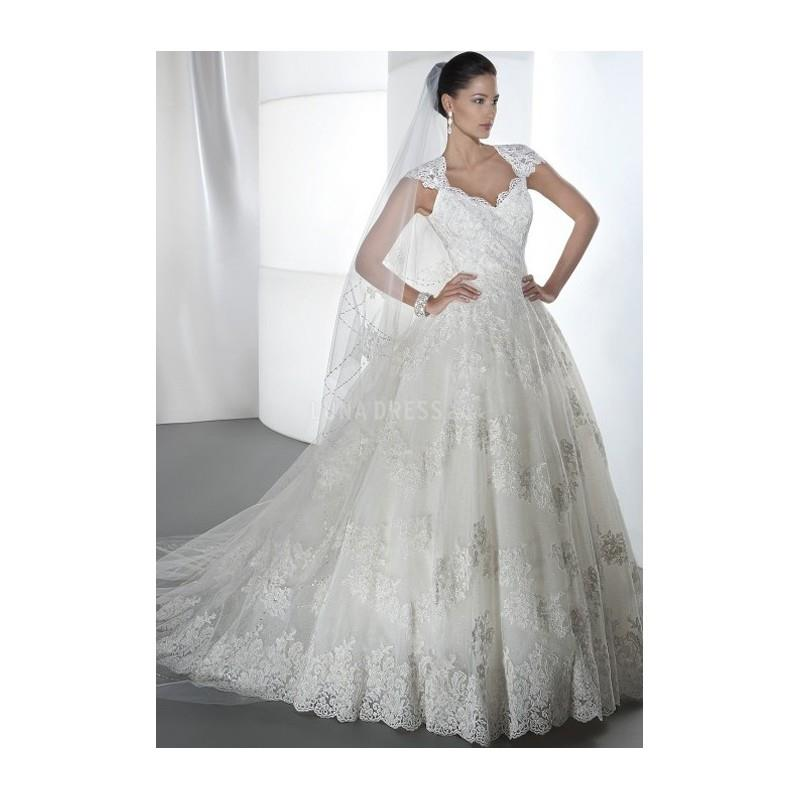 My Stuff, Vintage A line Lace Floor Length Queen Anne Wedding Dress With Appliques - Compelling Wedd