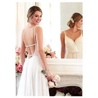 Fabulous Satin Chiffon Spaghetti Straps Neckline Sheath Wedding Dresses with Beadings & Rhinestones