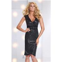 Sequined V-Neckline Dress by Social Occasions by Mon Cheri 113864 - Bonny Evening Dresses Online