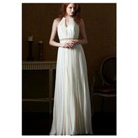 Elegant Chiffon Halter Neckline Natural Waistline Sheath Wedding Dress With Beaded Lace Appliques -