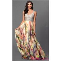 Print Skirt V-Neck Floor Length Dress by Dave and Johnny - Discount Evening Dresses |Shop Designers