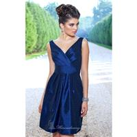 Navy Surplice Poly Shantung Dress by Alexia Designs - Color Your Classy Wardrobe