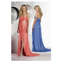 Gorgeous Satin Chiffon Sheath Strapless Neckline Full-length Slit Bridesmaid Dress With Beads - over