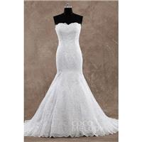 Impressive Trumpet-Mermaid Sweetheart Natural Train Lace Ivory Sleeveless Wedding Dress - Top Design