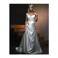Elastic Satin Off the Shoulder A line Sleeveless Floor Length Timeless Wedding Dresses - Compelling