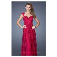Cranberry Lace Tulle Gown by La Femme - Color Your Classy Wardrobe
