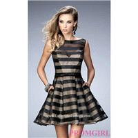 Sleeveless Striped Short Fit and Flare Semi Formal La Femme Dress - Discount Evening Dresses |Shop D