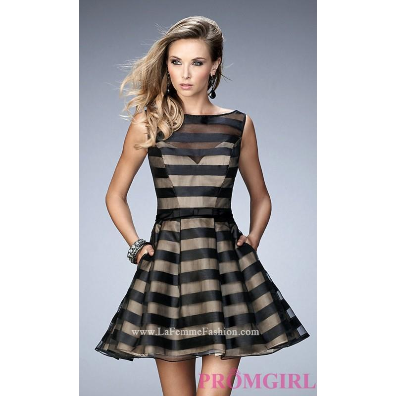 My Stuff, Sleeveless Striped Short Fit and Flare Semi Formal La Femme Dress - Discount Evening Dress
