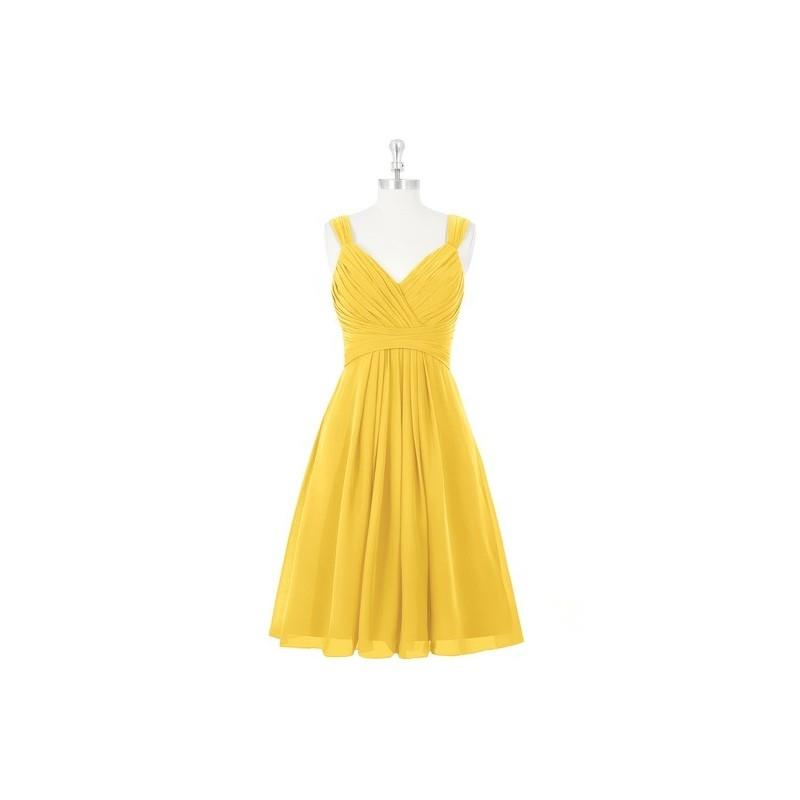 My Stuff, Marigold Azazie Clara - Back Zip V Neck Chiffon Knee Length Dress - Charming Bridesmaids S