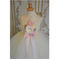 Vintage Champagne blush and Ivory flower girl tutu dress - Hand-made Beautiful Dresses|Unique Design