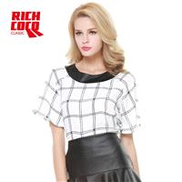 Fashion casual coat collar PU stitching loose cropped black and white Plaid short sleeve chiffon shi
