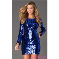 Short Sequin Long Sleeve Dress - Brand Prom Dresses|Beaded Evening Dresses|Unique Dresses For You
