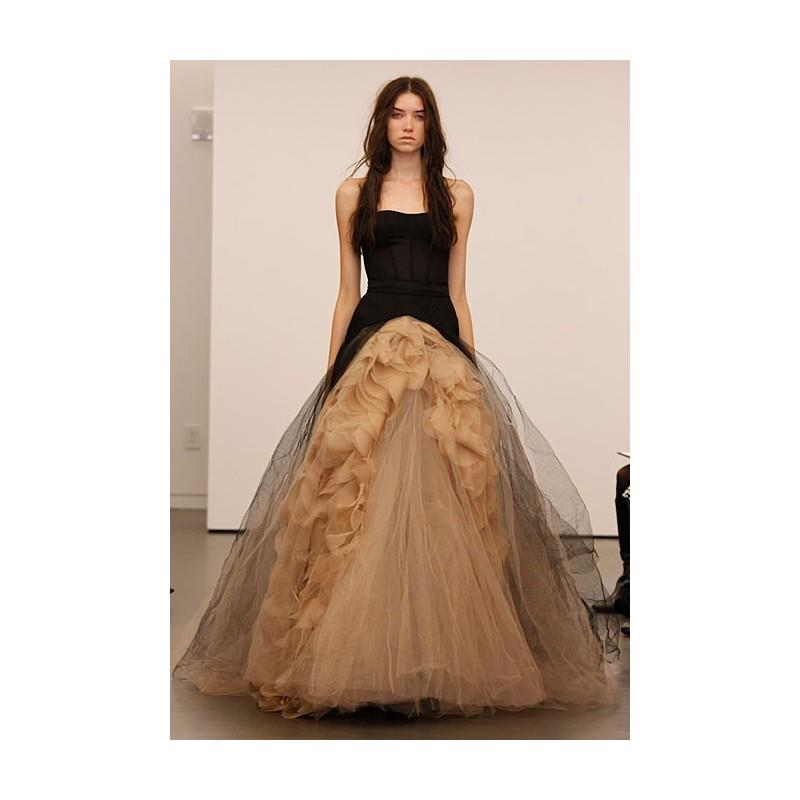 My Stuff, Vera Wang - Fall 2012 - Joelle Strapless Black and Nude Silk and Tulle Ball Gown Wedding D