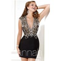 Beaded V-Neckline Cocktail Dress by Hannah S 27901 - Bonny Evening Dresses Online