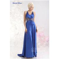 Lovely Sheath-Column V-Neck Sweep-Brush Train Elastic Satin Sodalite Blue Evening Dress COST13005 -