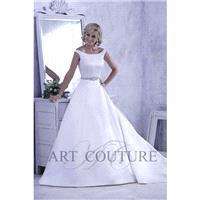 Eternity Bride Style AC440 by Art Couture - Ivory  White Satin Belt Floor Off-Shoulder  Bateau  High