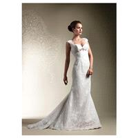 Brilliant Lace & Satin Sheath Sweetheart Neckline Wedding Dress - overpinks.com