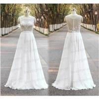 White/Ivory Lace Wedding Dress,Handmade Lace Wedding Gowns,Cap Sleeve Lace Chiffon Bridal Dress/Eleg