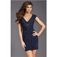Navy Beaded V-Neck Dress by Clarisse - Color Your Classy Wardrobe