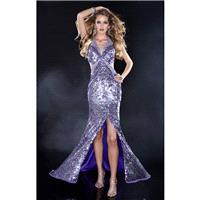 Mermaid/Silver Panoply 14429 - High Slit Open Back Sequin Dress - Customize Your Prom Dress