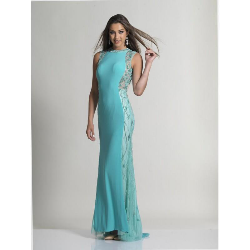 My Stuff, Dave and Johnny 2420 Jersey Gown with Sheer Beaded Sides - Brand Prom Dresses|Beaded Eveni