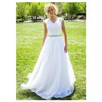 Alluring Organza V-neck Neckline A-line Wedding Dress - overpinks.com