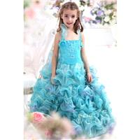 Cute Ball Gown Halter Blue Glow Floor Length Organza Girls Pageant Dress CKZF13006 - Top Designer We