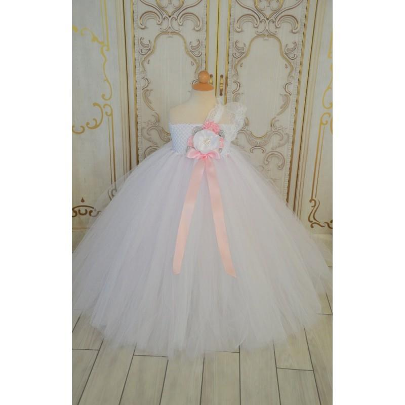 My Stuff, Vintage White Pink and Grey Flower girl tutu dress - Hand-made Beautiful Dresses|Unique De