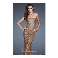 Copper Strapless Sweetheart Gown by La Femme - Color Your Classy Wardrobe
