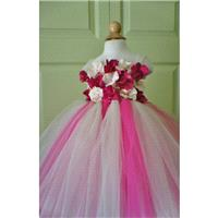 Flower Girl Dress, Tutu Dress, Photo Prop, Magenta and Champagne Flowers, Flower Top, Tutu Dress - H