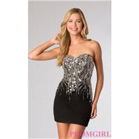 JVN by Jovani Short Strapless Sequin Dress - Brand Prom Dresses|Beaded Evening Dresses|Unique Dresse