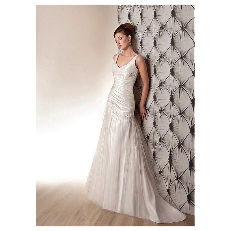 My Stuff, Glamorous Satin & Tulle V-neck Neckline Asymmetrical Waistline A-line Wedding Dress With L