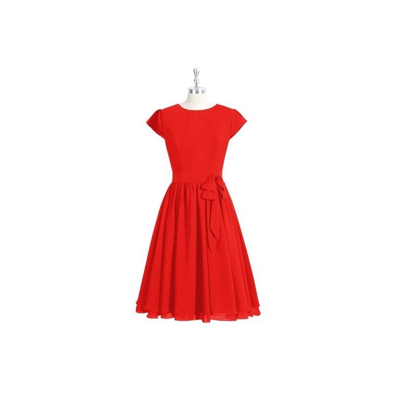 My Stuff, Red Azazie Ingrid - Knee Length Scoop Back Zip Chiffon Dress - Charming Bridesmaids Store