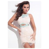 Fitted Lace & Satin Jewel Neckline Sheath Cocktail Dresses With Beads & Rhinestones - overpinks.com