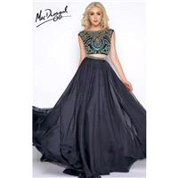 Black Multi Cassandra Stone 66040A - 2-piece A Line Sleeveless Long Chiffon Dress - Customize Your P