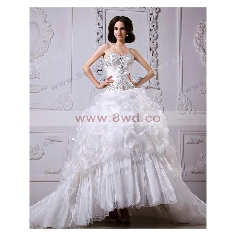 My Stuff, A-line Sweetheart Sleeveless Organza White Wedding Dress With Appliques BUKCH253 In Canada