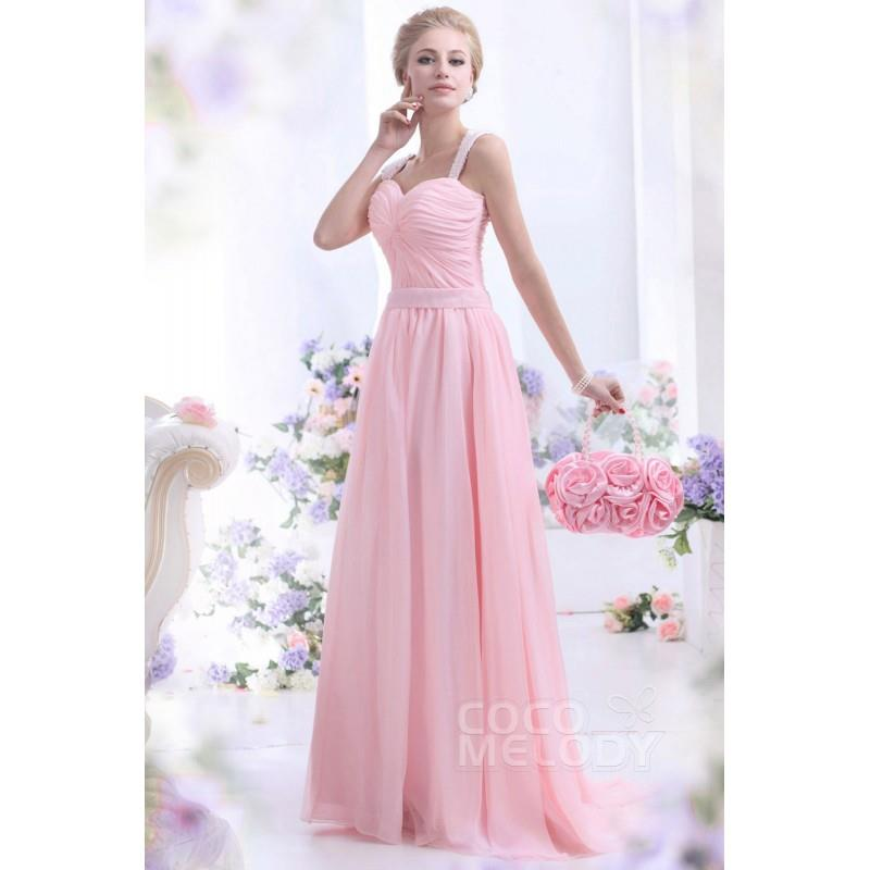 My Stuff, Sweet Sheath-Column Straps Sweep-Brush Train Chiffon Primrose Pink Evening Dress COZT13007
