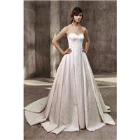 Abby by Badgley Mischka - Ivory Satin Floor Sweetheart  Strapless A-Line  Ballgown Regular Sizes (up