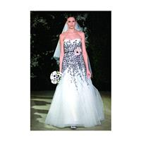 Carolina Herrera - Black and White Floral Motif Lace and Tulle Trumpet Wedding Dress - Stunning Chea