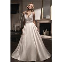 Style T192009 by Jasmine Couture - Ivory Mikado  Lace  Organza  Tulle Floor Plunge  Straps  V-Neck A