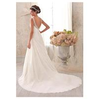 Fabulous Chiffon & Tulle V-neck Natural Waistline A-line Wedding Dress - overpinks.com