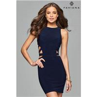 Faviana 7853 Evergreen,Navy,Wine Dress - The Unique Prom Store