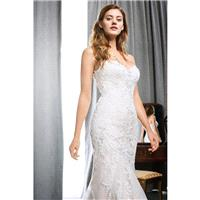 1703 by Kenneth Winston - Ivory  White  Champagne  Blush Lace  Organza Floor Sweetheart  Strapless W