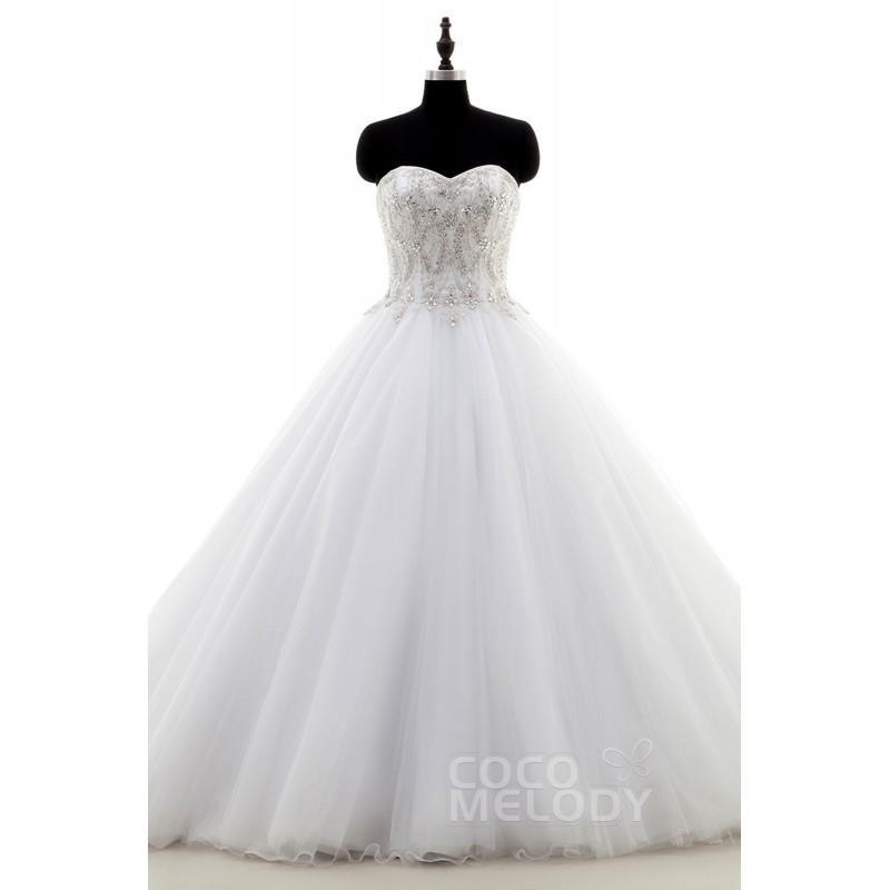 My Stuff, Fantastic A-Line Sweetheart Natural Chapel Train Tulle Ivory Sleeveless Zipper With Button