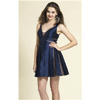 Navy Pleated Mini Dress by Dave and Johnny - Color Your Classy Wardrobe