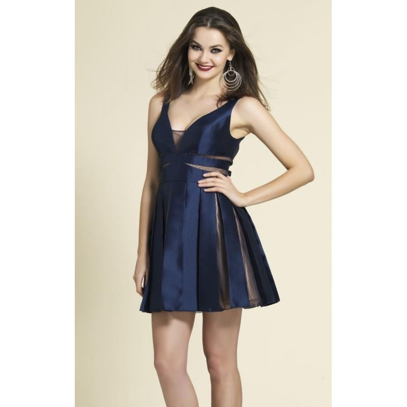 My Stuff, Navy Pleated Mini Dress by Dave and Johnny - Color Your Classy Wardrobe