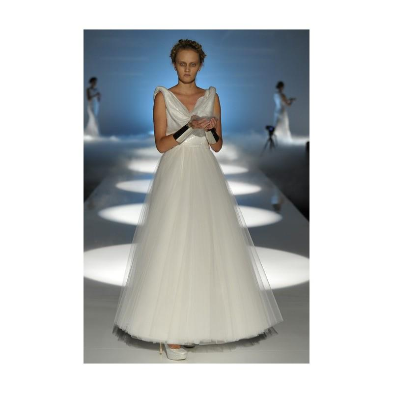 My Stuff, David Fielden - 2013 - Sleeveless Tulle A-Line Wedding Dress with a Cowl Neckline and Sequ