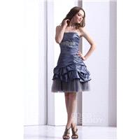 Queenly A-Line Strapless Knee Length Taffeta Party Dress COLB1301A - Top Designer Wedding Online-Sho